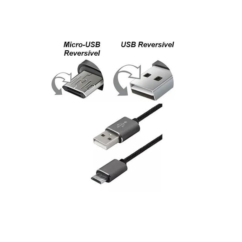CABO MICRO USB QUICK EASY MOBILE CBREVMU12GR 1,2M GRAFITE  - TELLNET