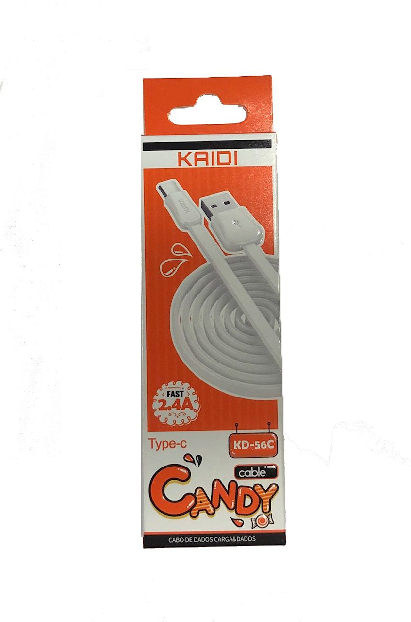 CABO TIPO-C 2.4A CANDY COLORS KAIDI KD-56C BRANCO 1M  - TELLNET