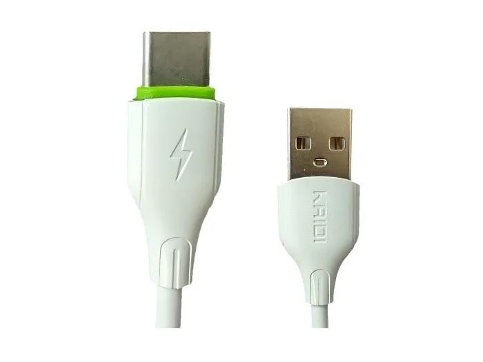 CABO USB-C 3A KAIDI KD-308C BRANCO 1M  - TELLNET