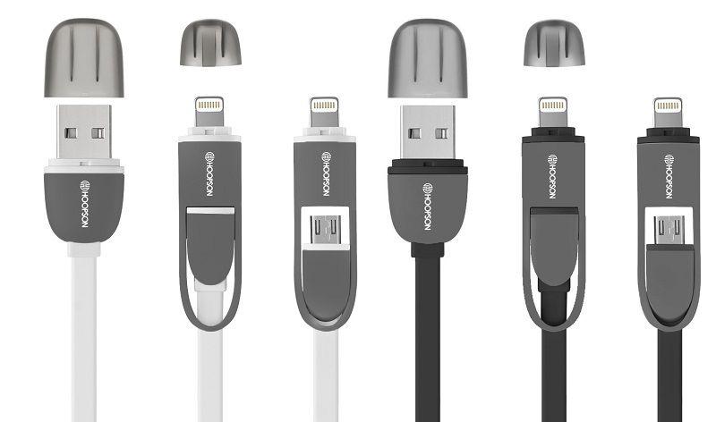 CABO USB FLAT 2x1 2.4A HOOPSON CH08 1,2M PTO OU BCO  - TELLNET