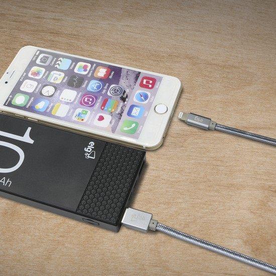 CABO USB X LIGHTNING FLAT NYLON ELG L810BY CINZA 1M  - TELLNET