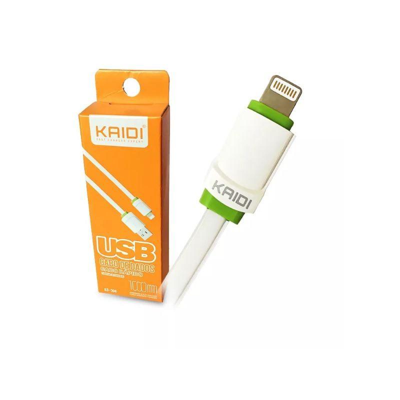 CABO USB x LIGHTNING KAIDI KD-306 1M BRANCO  - TELLNET