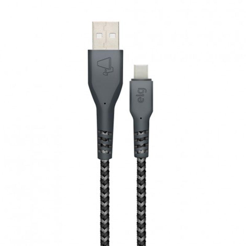 CABO USB x TIPO-C TRANÇADO BALISTIC ELG TC10BL CHUMBO 1M  - TELLNET
