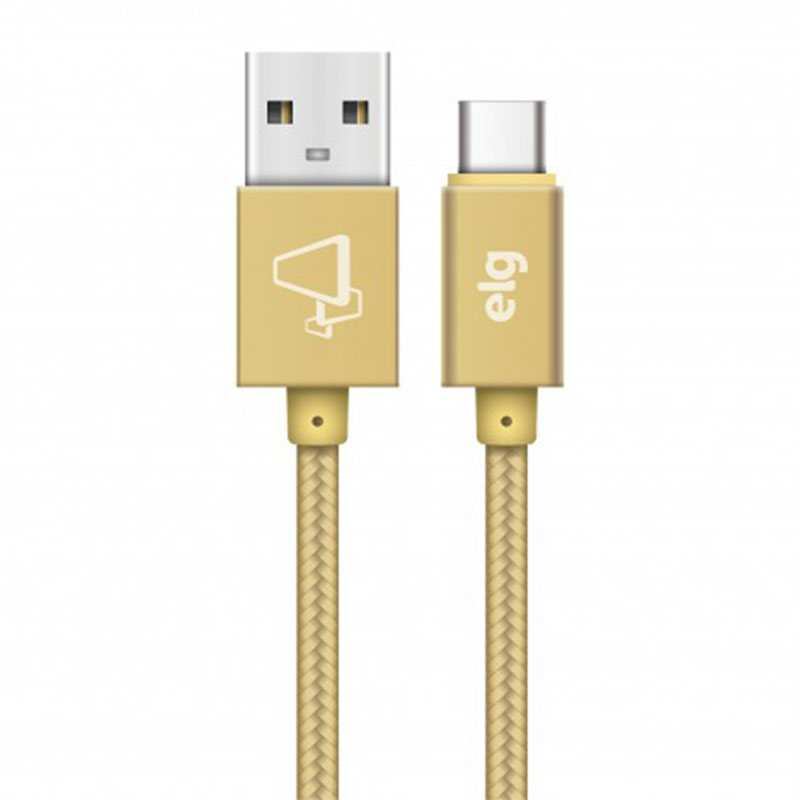 CABO USB X TIPO-C TRANÇADO ELG TC10BG GOLD 1M  - TELLNET