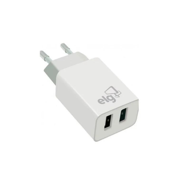 CARREGADOR PAREDE 2 x USB 2.1A ELG WC124E BRANCO  - TELLNET
