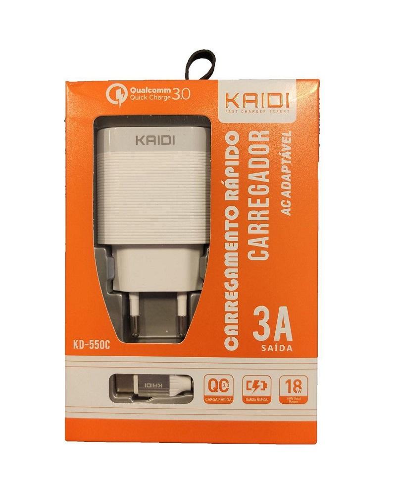 CARREGADOR TOMADA 2 x USB 3A + CABO TIPO-C KAIDI KD-550C BRANCO  - TELLNET