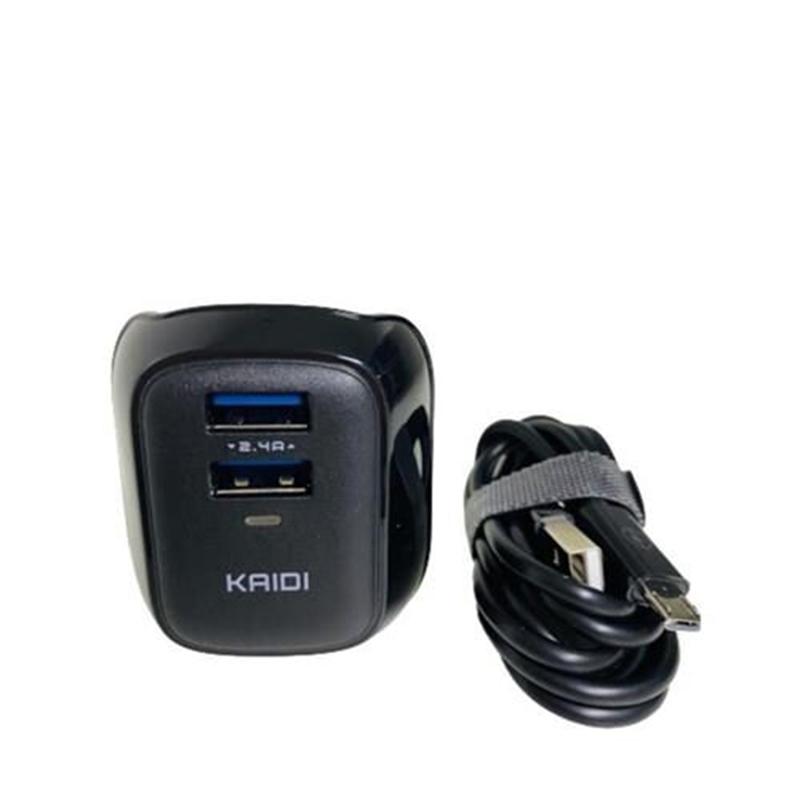 CARREGADOR TOMADA + CABO MICRO USB KAIDI 2.4A PRETO KD-85S  - TELLNET
