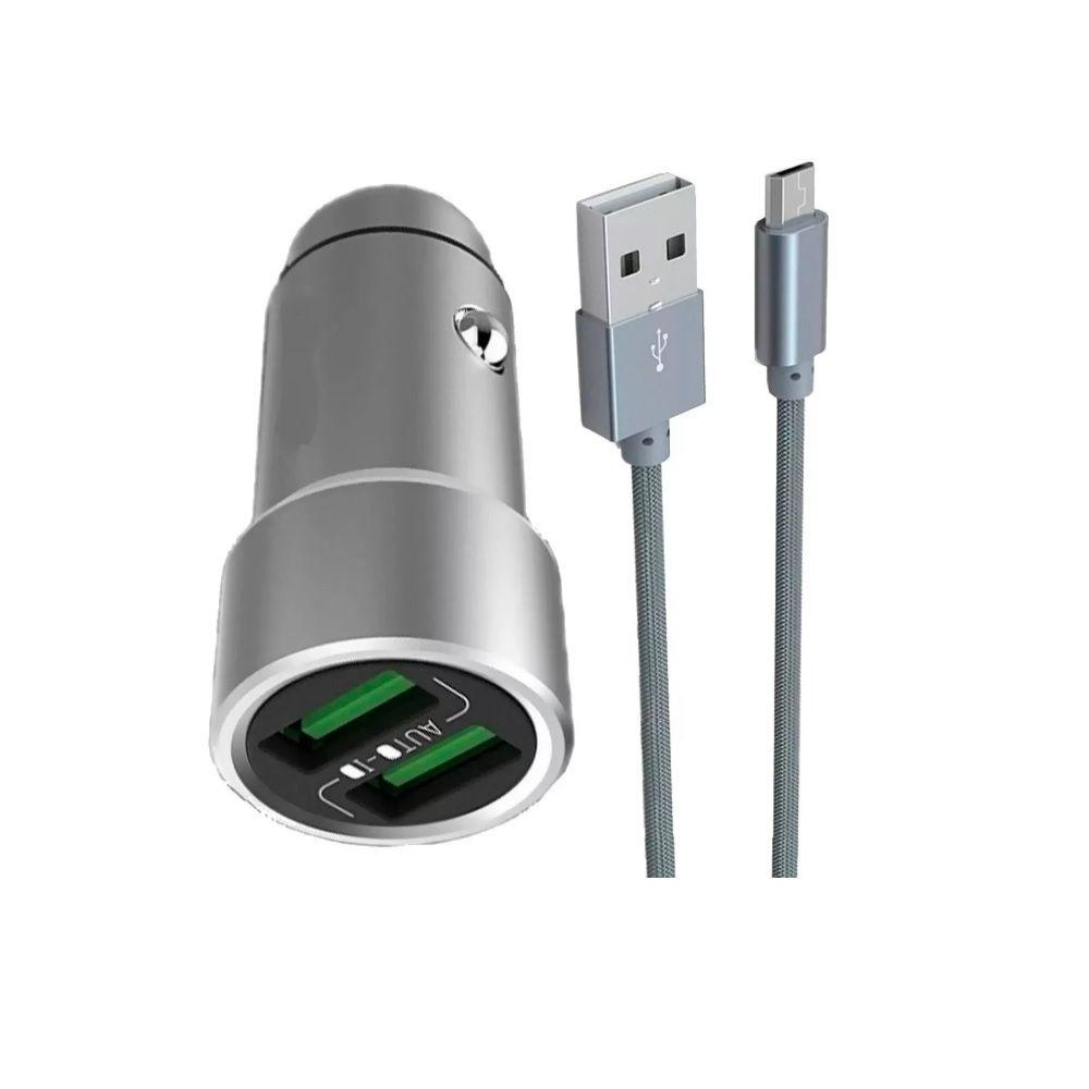 CARREGADOR VEICULAR 3.6A + CABO MICRO USB KAIDI KD-505 CINZA  - TELLNET