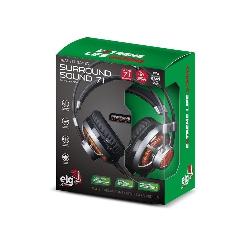 HEADSET USB GAMER 7.1 3D SURROUND ELG HGSS71 + LED LARANJA 2,2M  - TELLNET