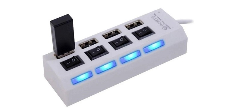 HUB USB 2.0 4 PORTAS HI-SPEED C/SWITCH E LED INDICADOR  - TELLNET