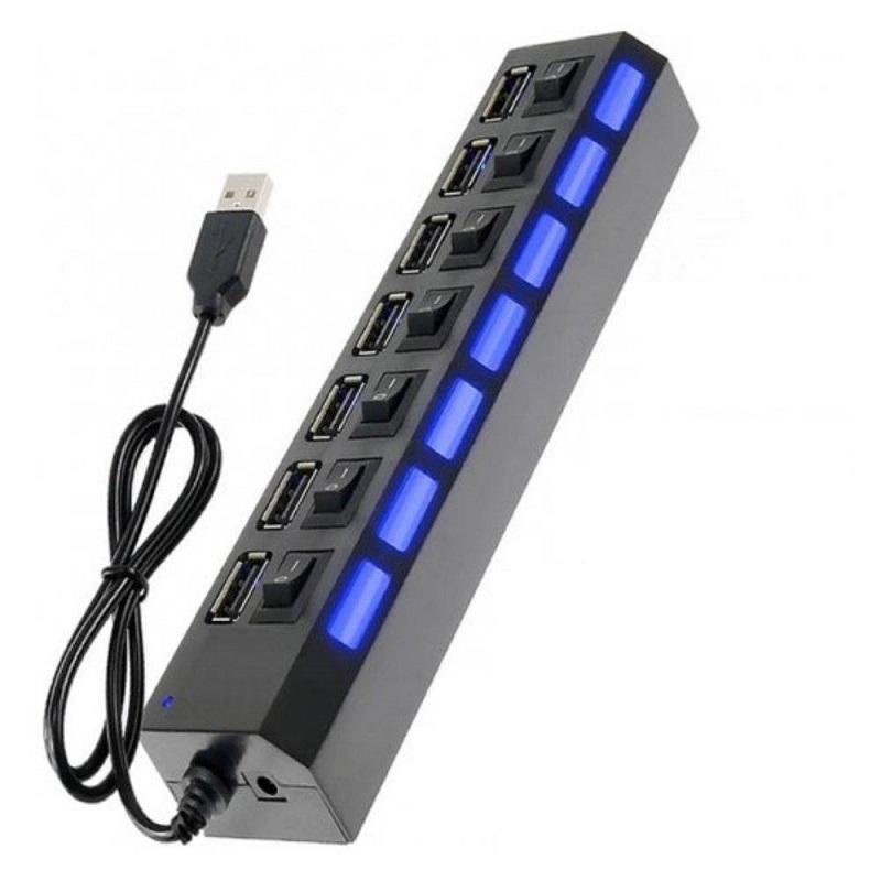 HUB USB 2.0 7 PORTAS HI-SPEED C/SWITCH E LED INDICADOR  - TELLNET
