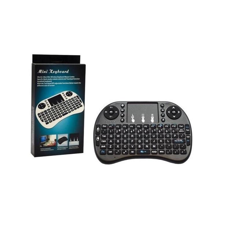 MINI TECLADO WIRELESS P/SMART TV + CELULARES + TV BOX + PC + NOTES + TABLETS BACKLIT PRETO  - TELLNET