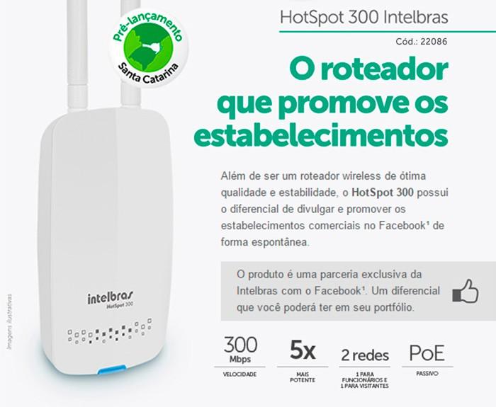 ROTEADOR INTELBRAS POE HOTSPOT 300  - TELLNET