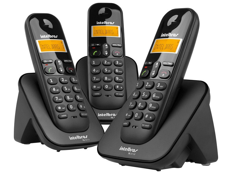 TELEFONE S/FIO DIGITAL + 2 RAMAIS INTELBRAS TS3113 PRETO  - TELLNET