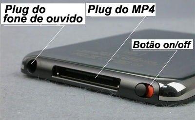 MP4 Player 4GB + Videos + Fotos + Gravador+ MP3+ RADIO-PRETO