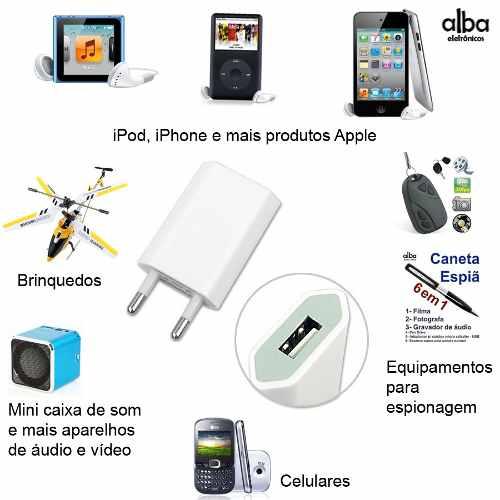 Carregador Tomada Parede USB MP3 MP4 iPod iPhone Celular  +++