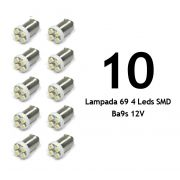Lote 10 Lampadas 69 4 Leds SMD Ba9s 12V - Super Branca Xenon - Fusca Kombi