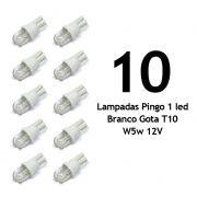 Lote 10 Lampadas Pingo 1 Led Super Branco Gota T10 W5w 12V