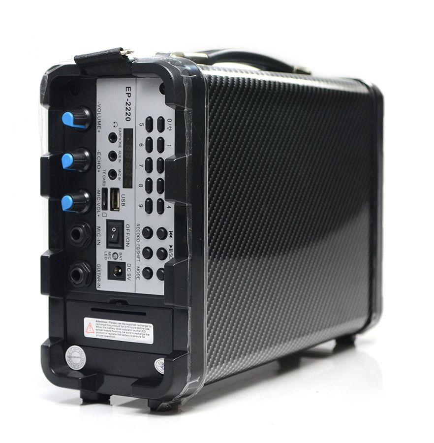 Caixa de Som Ecopower EP-2220 Bluetooth USB Auxiliar Cartão - Azul