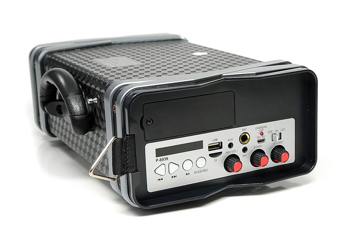 Caixa de Som Prosper P-8939 Bluetooth Microfone USB CartãoTF - Cinza