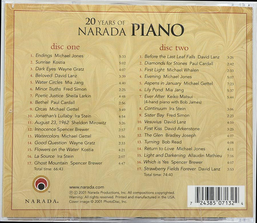 Cd 20 Years Of Narada Piano - Lacrado - Importado