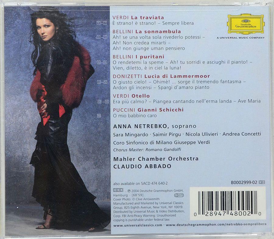 Cd Anna Netrebko - Sempre Libera - Mahler Chamber Orchestra Claudio Abbado - Lacrado - Importado