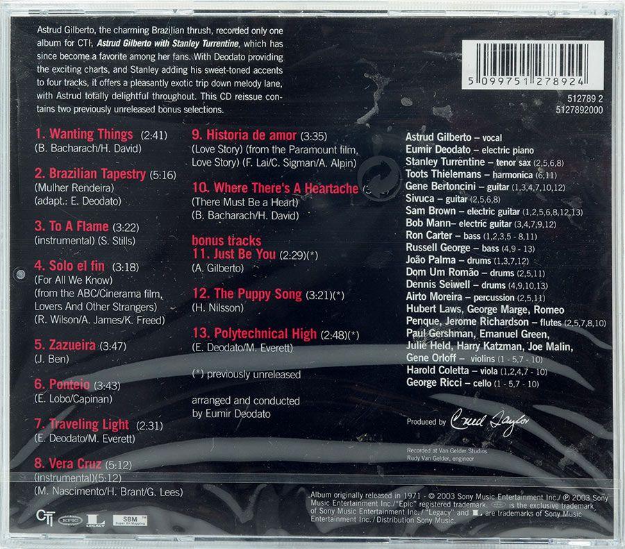 CD Astrud Gilberto With Stanley Turrentine - Lacrado - Importado