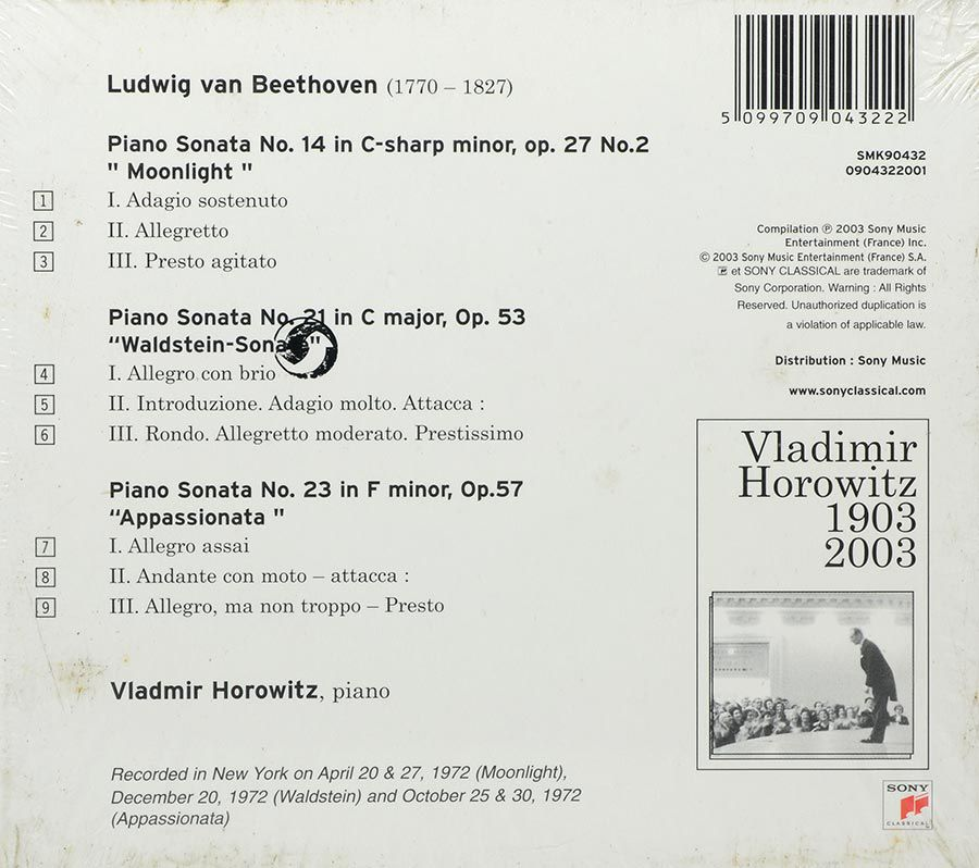 CD Beethoven Great Piano Sonatas - Horowitz - Lacrado - Importado