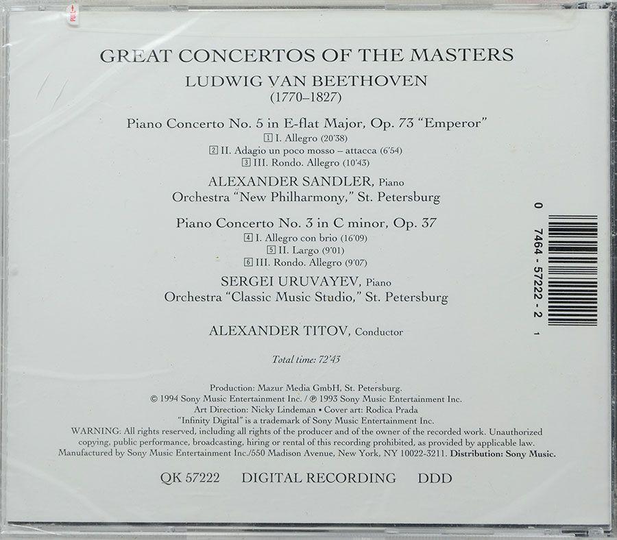 CD Beethoven: Piano Concertos N 3 & 5 Emperor - Lacrado - Importado