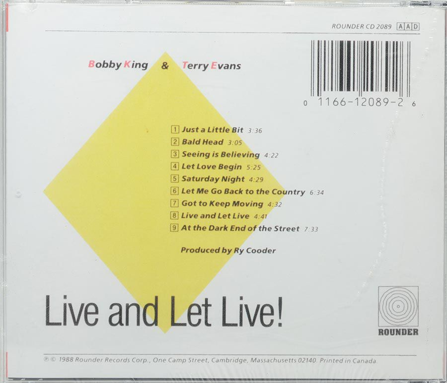 Cd Bobby King & Terry Evans - Live And Let Live - Lacrado - Importado