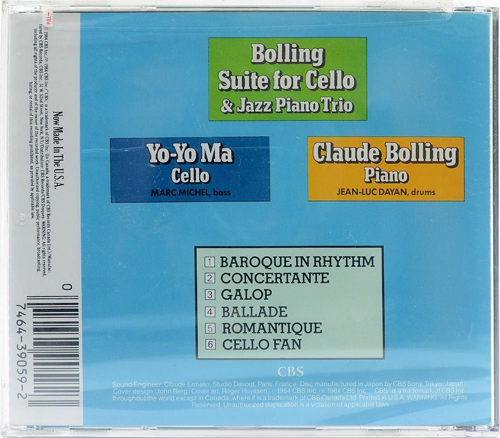 CD Bolling - Suite For Cello & Jazz Piano Trio Yo-Yo Ma - Importado - Lacrado