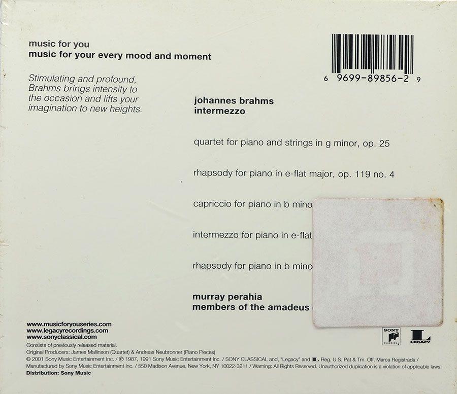 Cd Brahms Intermezzo - Murray Perahia Amadeus Quartet - Lacrado - Importado