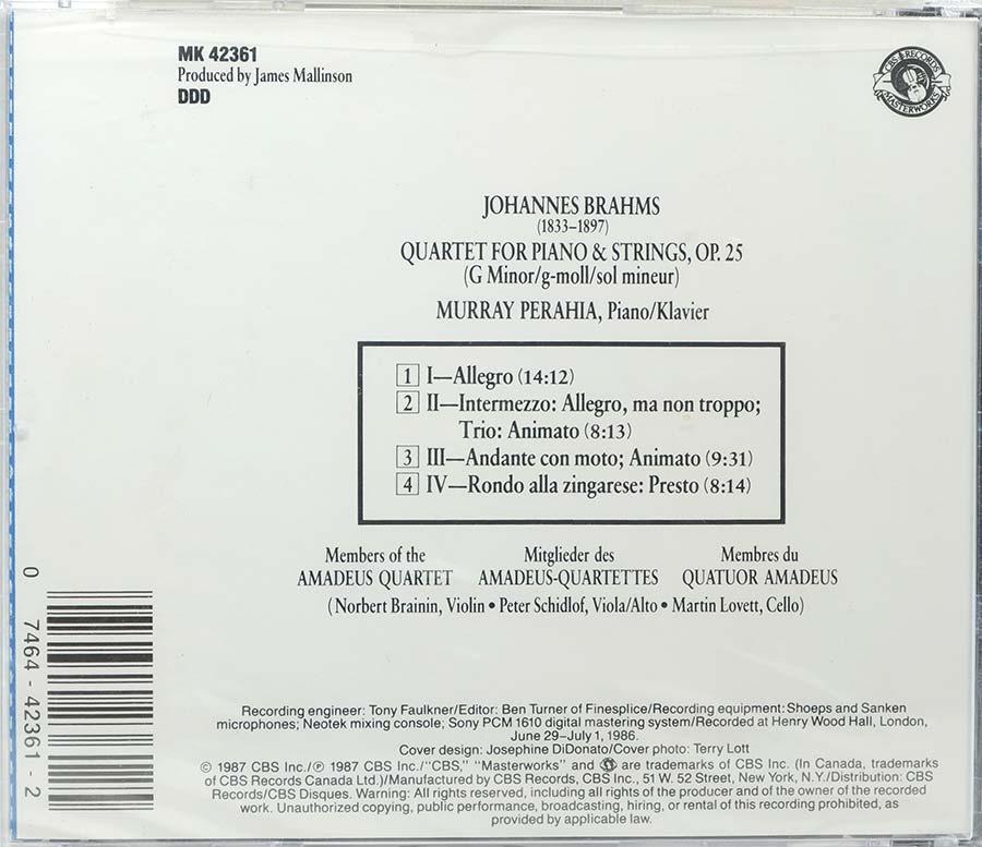 Cd Brahms: Piano Quartet Op 25 Perahia - Lacrado - Importado