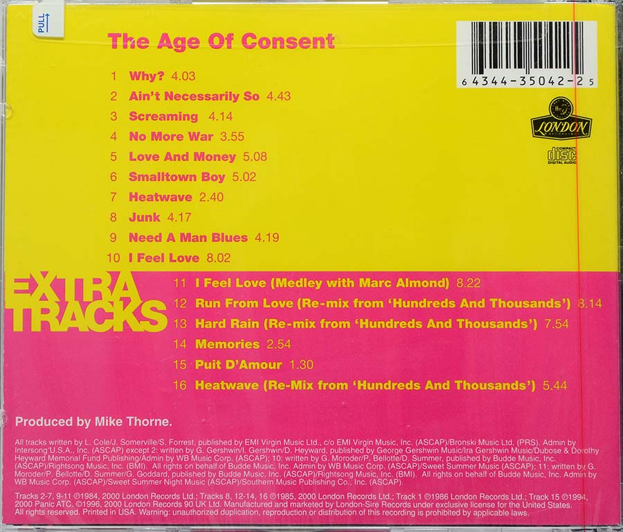 Cd Bronski Beat - Age Of Consent - Lacrado - Importado