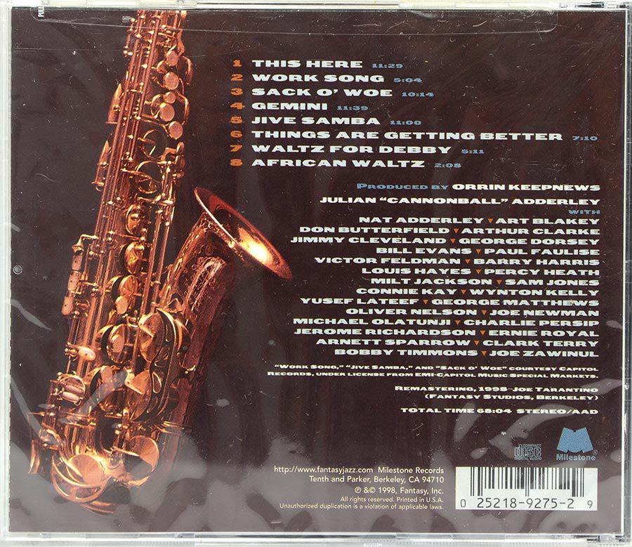 CD Cannonball Adderley - Greatest Hits - Lacrado - Importado