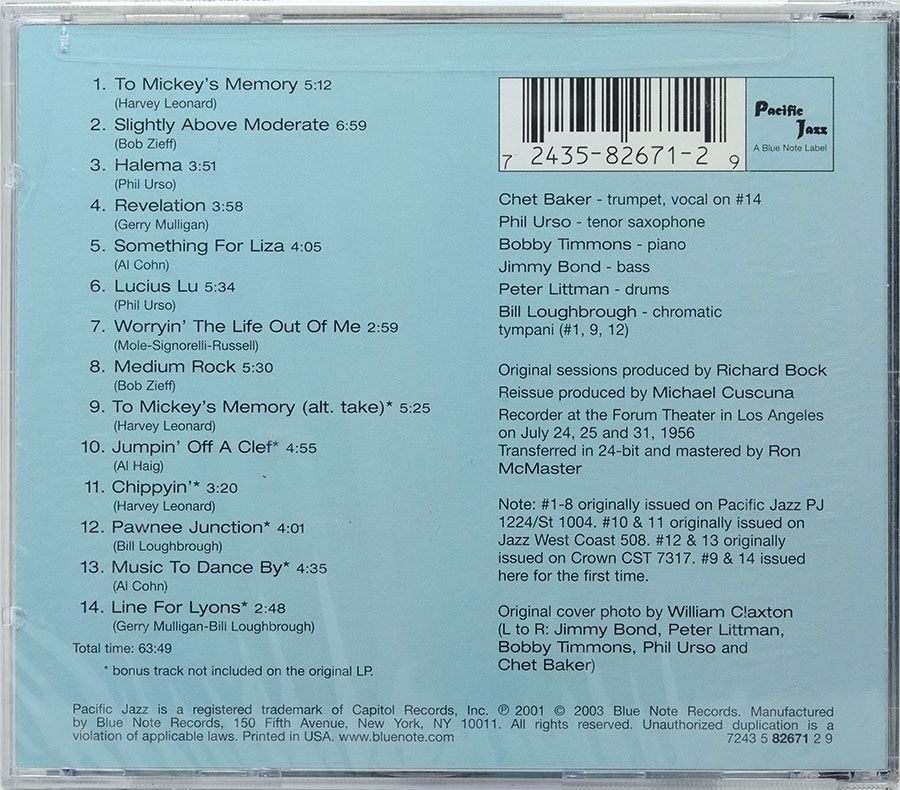 CD Chet Baker & Crew - Pacific Jazz 82671 - Lacrado - Importado