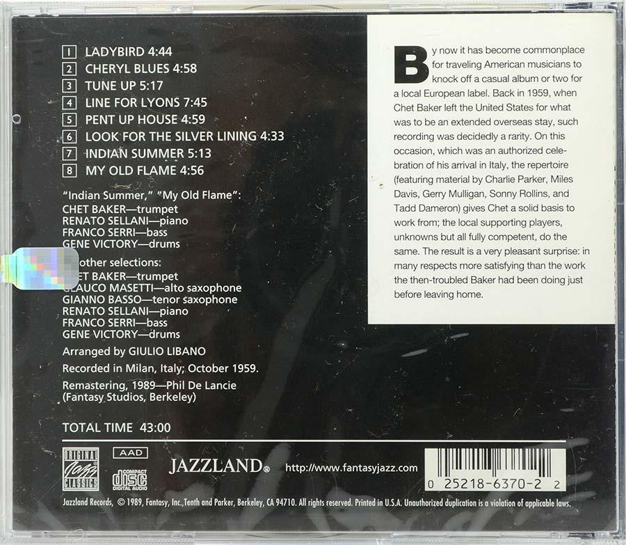 Cd Chet Baker In Milan - Jazzland - Lacrado - Importado