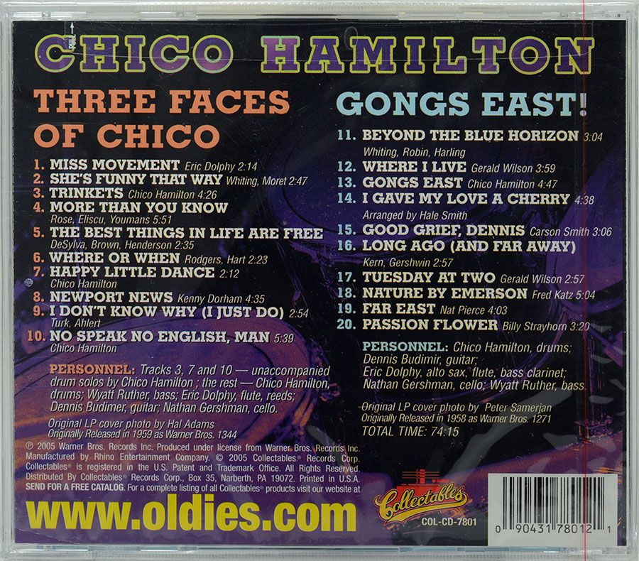 CD Chico Hamilton - Three Faces Of Chico / Gongs East! - Lacrado - Importado