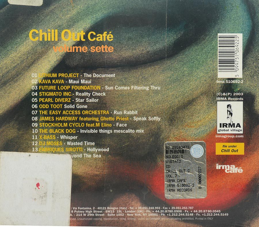 Cd Chill Out café Volume Sette - Lacrado - Importado