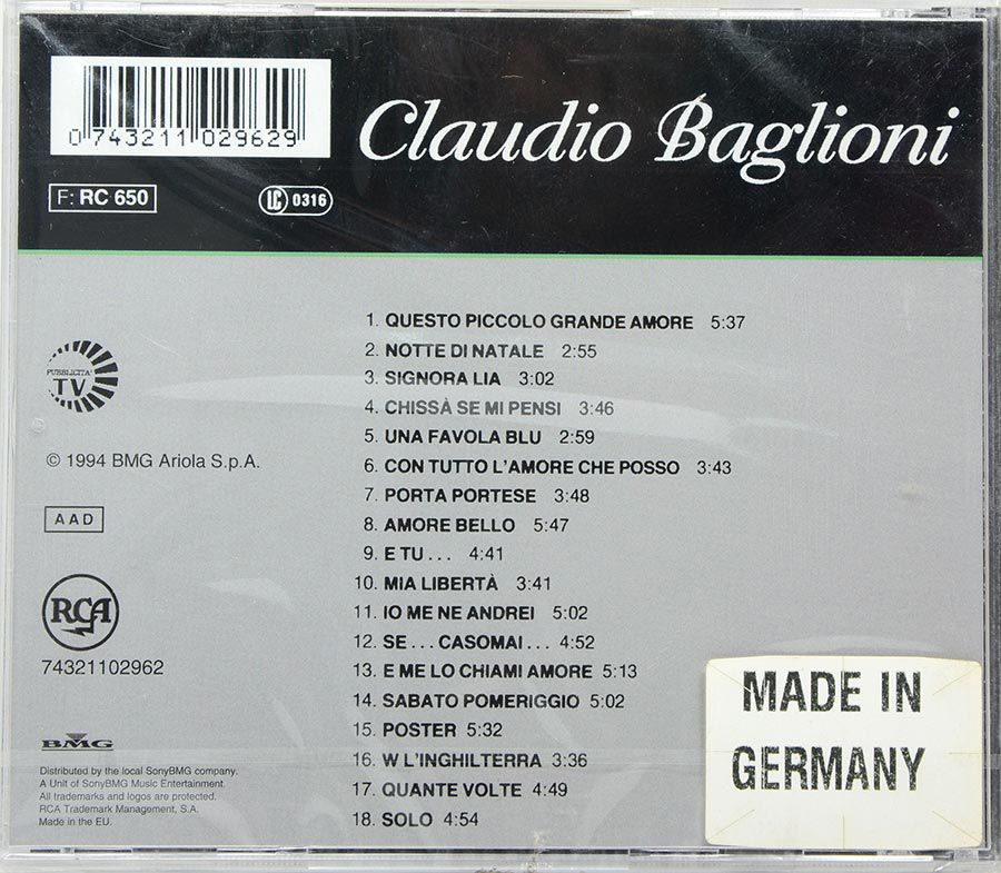 CD Claudio Baglioni - All The Best - Lacrado - Importado