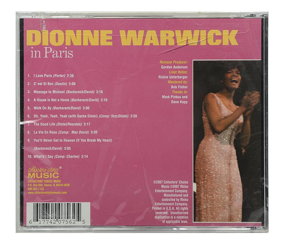 Cd Dionne Warwick in Paris - Importado - Lacrado
