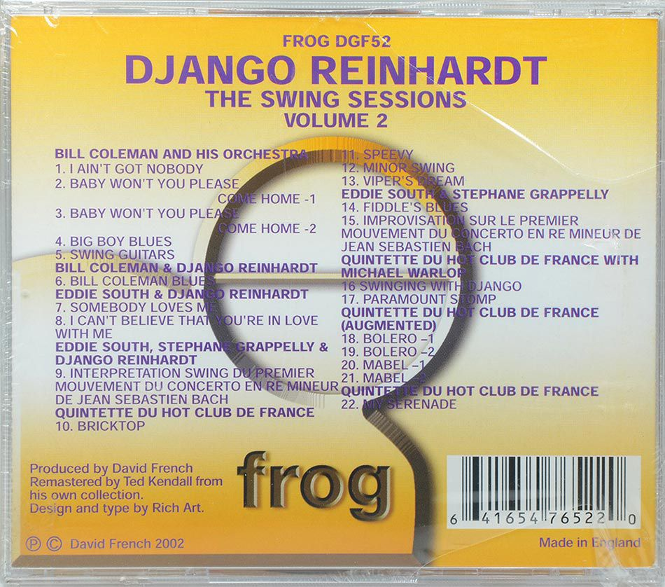 CD Django Reinhardt - The Swing Sessions Vol2 - Lacrado - Importado