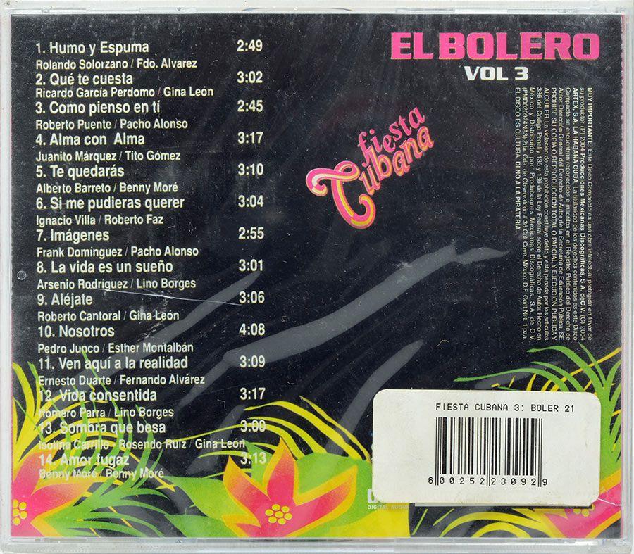 CD Fiesta Cubana El Bolero Vol.3 - Lacrado - Importado