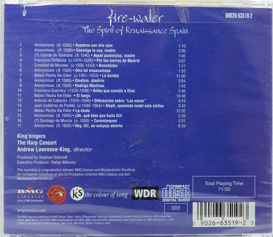 Cd Fire Water - The Spirit Of Renaissance Spain - Lacrado - Importado