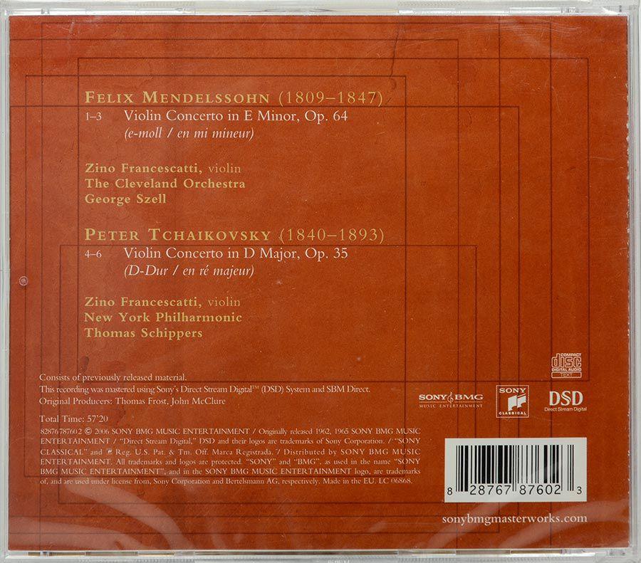 CD Francescatti - Mendelssohn / Tchaikovsky Violin Concertos - Lacrado - Importado