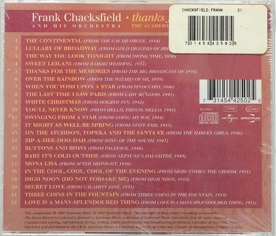 Cd Frank Chacksfield - Thanks For The Memories - Lacrado - Importado