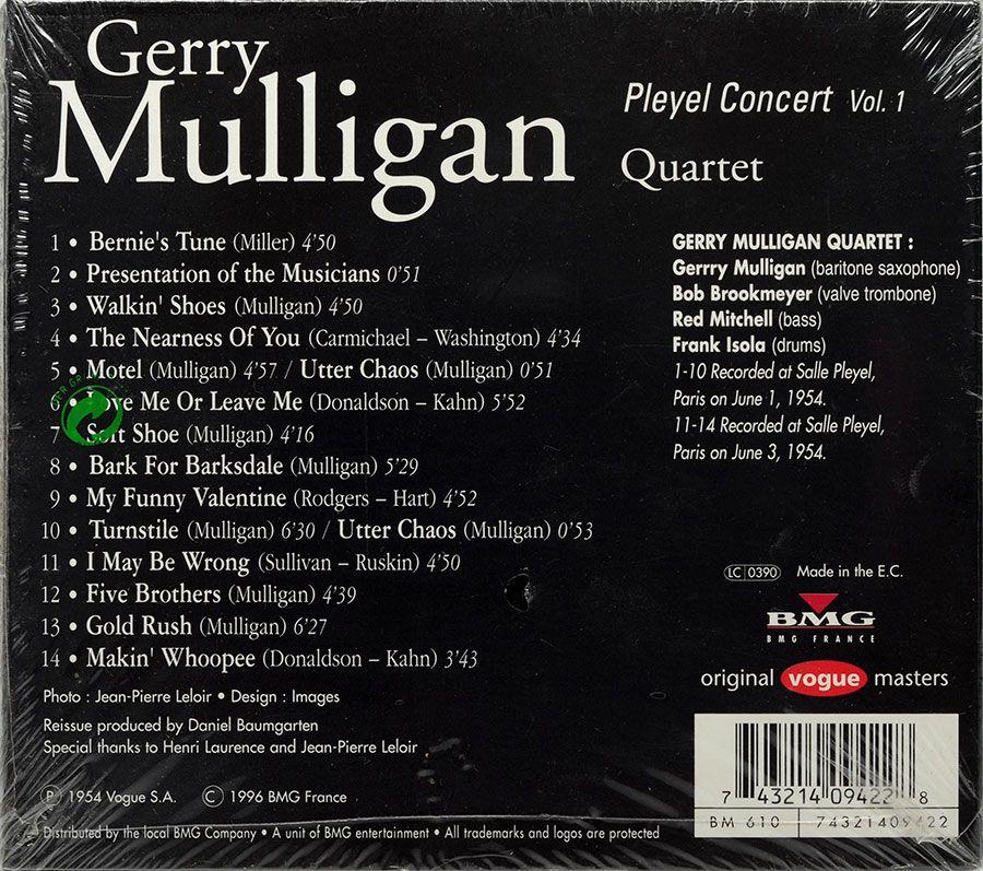 CD Gerry Mulligan Quartet - Pleyel Concert Vol.1 - Lacrado - Importado
