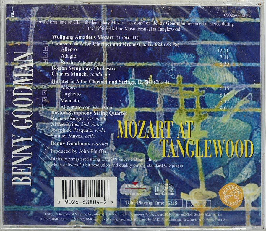 CD Goodman - Mozart At Tanglewood - Lacrado - Importado