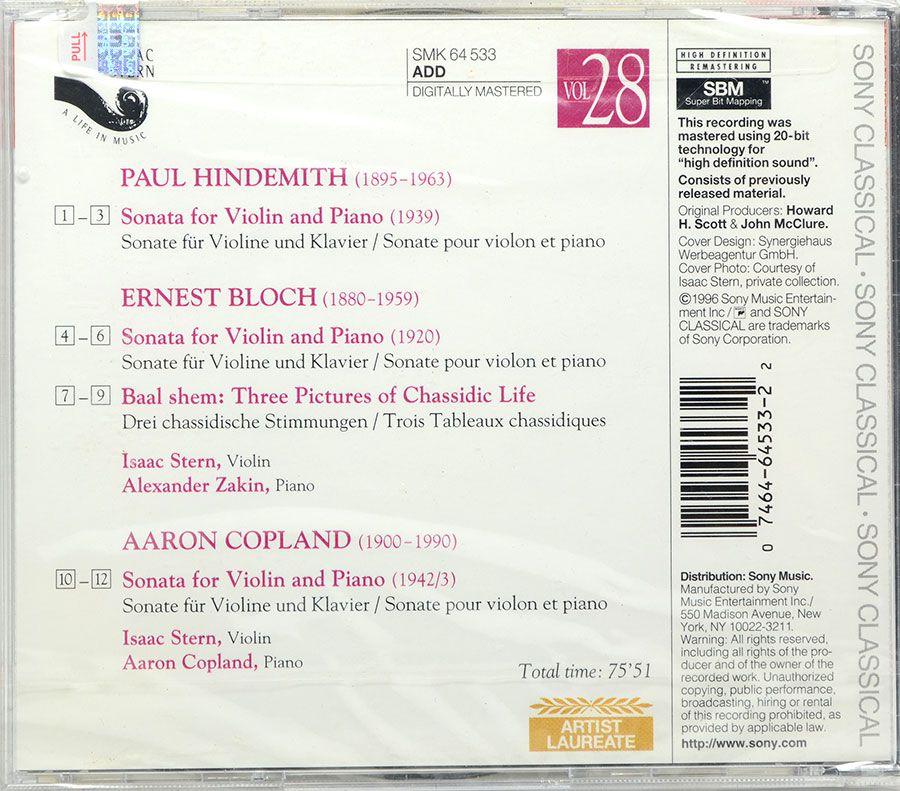 Cd Hindemith Copland - Violin Sonatas Bloch Violin Sonata Baal Shem - Lacrado - Importado