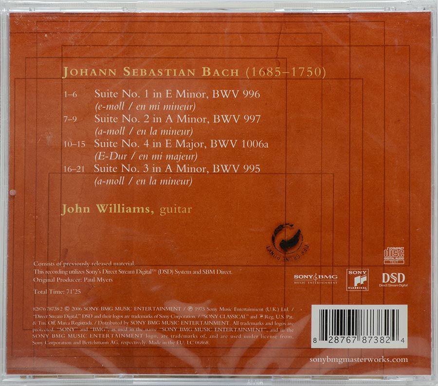 CD John Williams Plays Bach The Four Lute Suites On Guitar - Lacrado - Importado